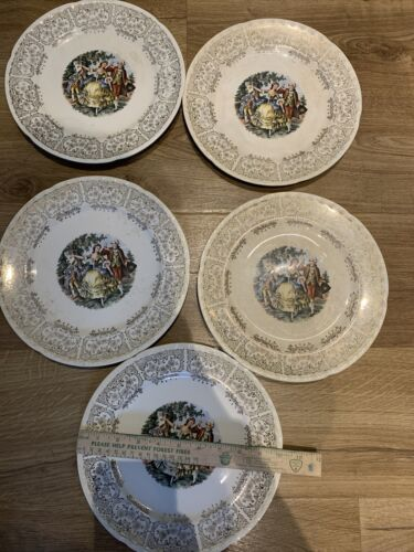 CROOKSVILLE China 10 DINNER PLATE Colonial People Silver Filigree Vintage 5  - $15.99
