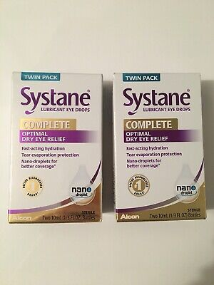 NEW! 2 Twin Packs Systane Complete Lubricant Eye Drops Dry Eye Relief, Exp 11/20