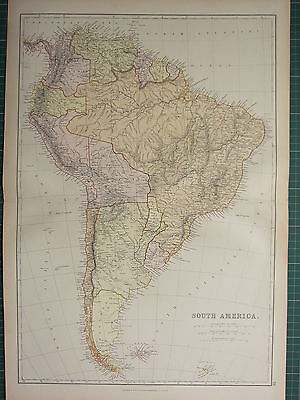 1882 LARGE ANTIQUE MAP ~ SOUTH AMERICA ~ BRAZIL ARGENTINA CHILE PERU URUGUAY