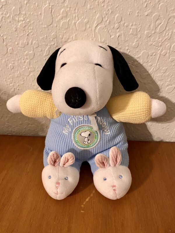 MY FIRST SNOOPY, Blue Yellow Thermal Plush Stuffed Animal Toy Rattle Baby Lovey