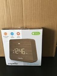 Capello Digital LED Modern Mantle Alarm Clock Wood Grain Finish