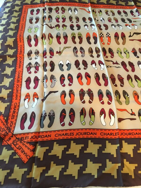 Charles Jourdan Silk Scarf Shoe Print