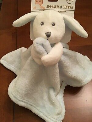 Blankets Beyond Baby Bunny Security Blanket Blue and White NEW Velour