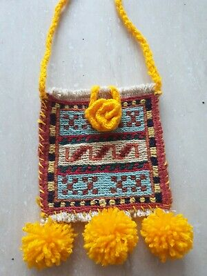 Hand Made Oriental Small Kilim Bag with added crochet decorations