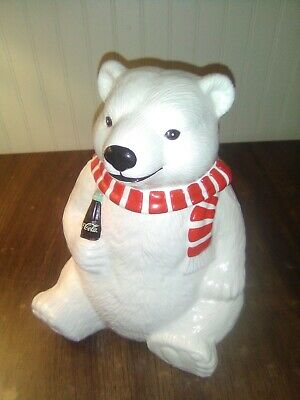 Vintage Coca Cola Polar Bear Cookie Jar Christmas Bear 1996 No Chips (G0162)