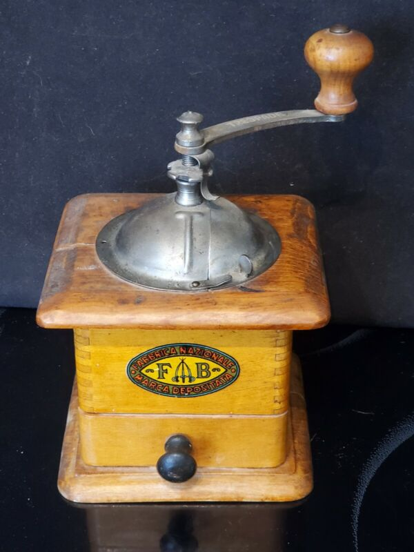 Rare F.A.B. Fabbrica Nationale Marca Depositata Antique Wooden Grinder Works