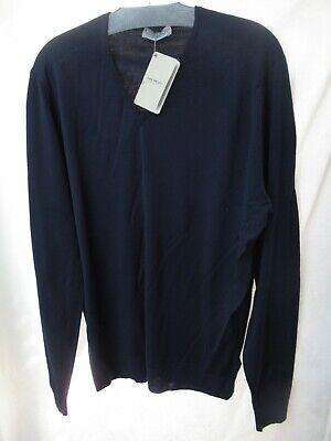 John Smedley Pullover V Neck Sweater Midnight Blue Merino Wool Mens XXL NWT mec