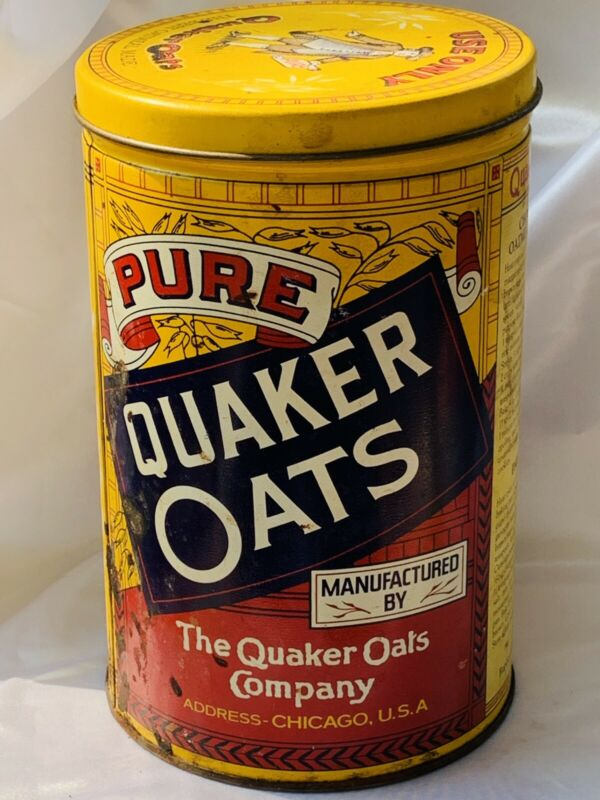 Collectible Quaker Rolled White Oats Tin Canister 1984 Limited Edition w/Lid