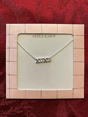 Stella & Dot XOXO Necklace - Silver, New With Box