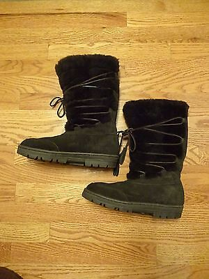 J Crew Brown Suede Leather Full Shearling Lined Lace Up Boots Size 8