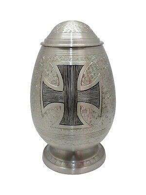 Beautiful Cross Cremation Urn, Memorial Brass Adult Human Urn with Velvet Bag