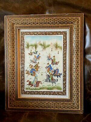Vtg Celluloid Khatam Inlay Marquetry Persian Art Painting Standing Framed