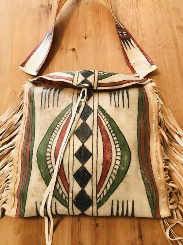 Stunning Large Native American Parfleche Painted Rawhide Fringed Bag
