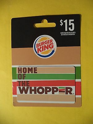 Burger King $ 15.00 Gift Card