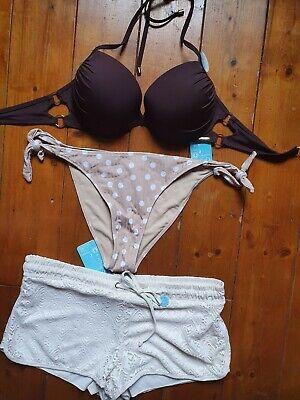 Bikini 85 D XL 42 push up braun creme Punkte Häkeloptik Bademode Neckholder neu