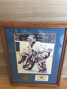 Authentic Curtis Joseph framed image with Medalian