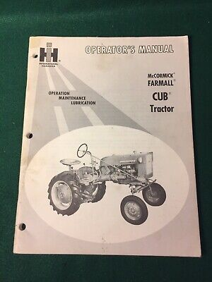 Vintage Mccormick Farmall Cub Tractor Operators Manual International Harvester
