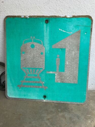 Original Railroad Depot Loading Sign Amtrak Southern Pacific Passenger Railway