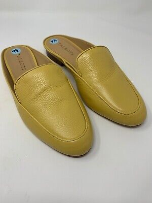 Talbots Womens Sz 9.5 M Yellow Slide Mules Shoes Leather
