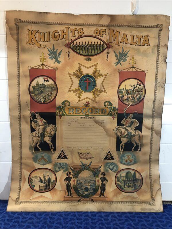 Knights Templar Malta Record Membership Poster 22 x 28 In Hoc Signo Vinces 1902