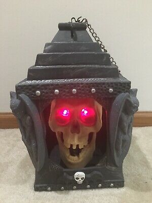"""Animated Halloween Skeleton Lantern Motion Activated Sings """"Hot Hot Hot"""" Used"""