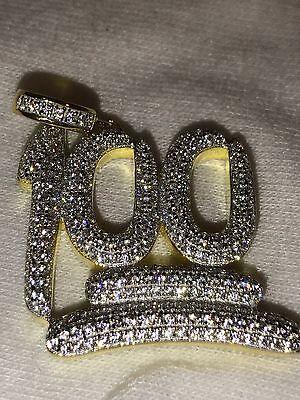 Mens 14k Yellow Gold Finish .925 Silver Keep It 100 Diamond Pendant Iced Hip Hop