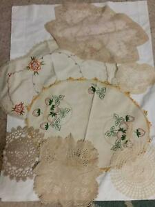 Lace and Embroidered Doileys all old. 7pc