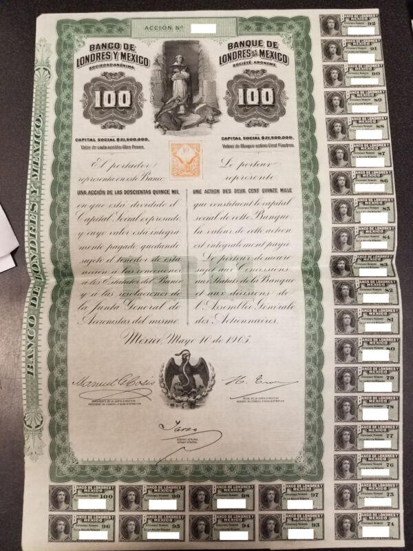 RARE 1905 BANCO DE LONDRES MEXICO QUEEN VICTORIA BOND with coupons