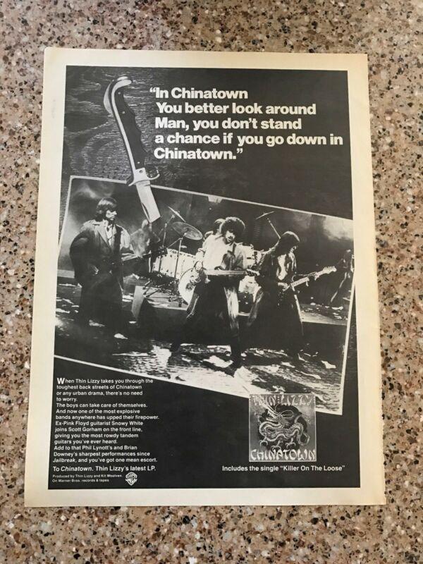 "1981 VINTAGE 8X11 ALBUM PROMO ORIGINAL B&W PRINT Ad FOR THIN LIZZY ""CHINATOWN"""