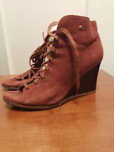 UGG Australia brown suede peep toe boots