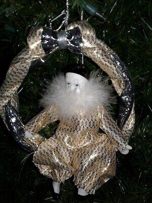"Vtg Mime Christmas Ornament 6"" Gold, Black, Silver"