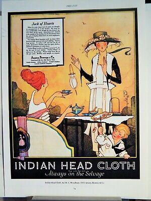 INDIAN HEAD CLOTH 199 / WELLS FARGO POSTER 1917 VTG AD (1982 reprint)