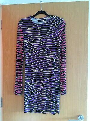 House Of Holland Multicolour Zebra Print Bodycon Knee Length Dress UK12