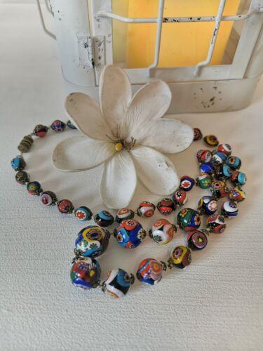 Ancien collier perles de verre murano millefiori venise