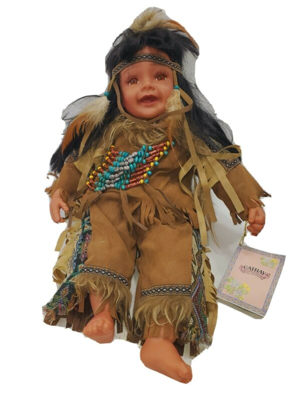 Cathay Collection Baby Boy Native American Indian Doll 236 of 5000 porcelain