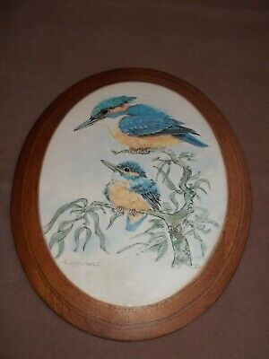 VINTAGE WOODEN DECOUPAGE- PINN CRAFTS WALL HANGING PLAQUE OF KINGFISHERS