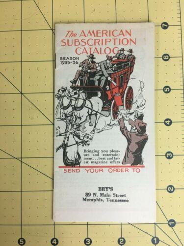 Vintage The American Subscription Catalog Season 1935 1936 Magazines Memphis