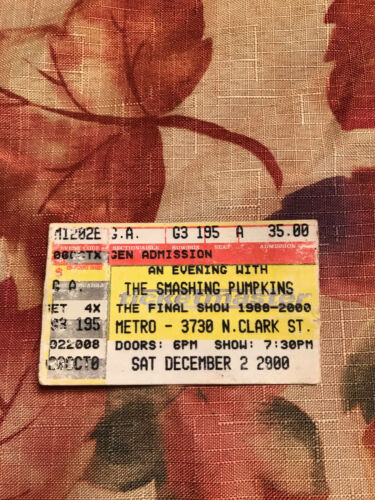 The Smashing Pumpkins Chicago IL Metro Final Show used Concert Ticket Stub 12.2.