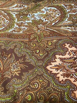 RETRO Vintage  1970s BROWN Paisley PAIR OF CURTAINS 120 X 220 Cotton