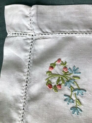 Antique Baby Pillowcase Hand Embroidery Flowers White Cotton