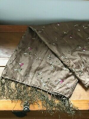 Embroidered Leaves Scarf (Estate Crinkly Brown with Pink Embroidered Flowers & Green Leaves Scarf or)