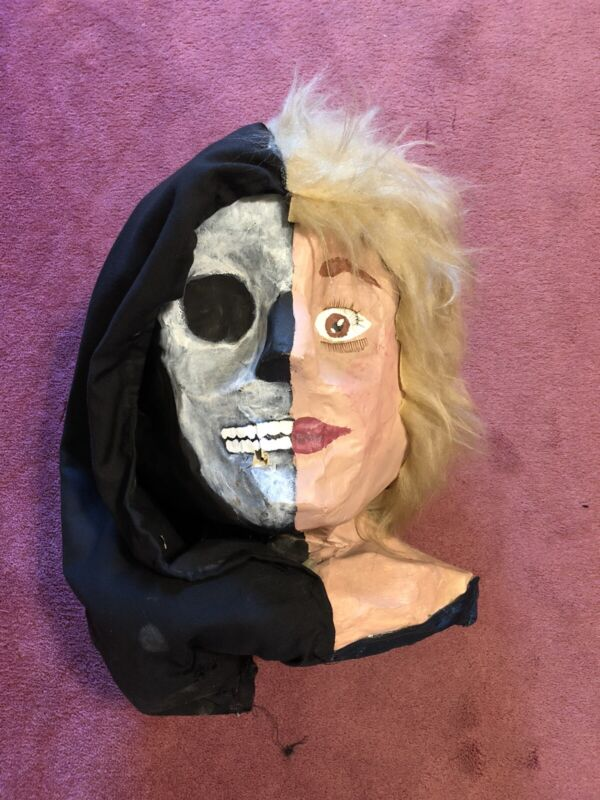 vintage halloween paper mache Mask One Of A Kind 80s Rare Handmade