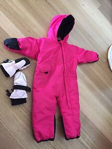 Toddler Ski Suit - pink 6-12 months with gloves Caves Beach Lake Macquarie Area Preview