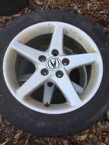 """(SOLD PENDING ) Acura 16"""" rims 5x114.3 tires are 205 55 r16"""