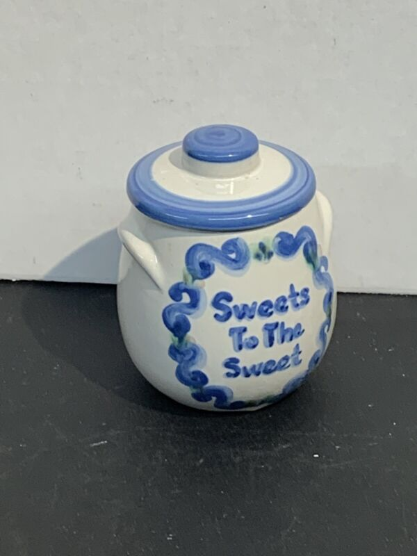 """M.A. Hadley Pottery Blue Country HONEY POT Sweets To The Sweet 4.25""""H w/ Lid"""