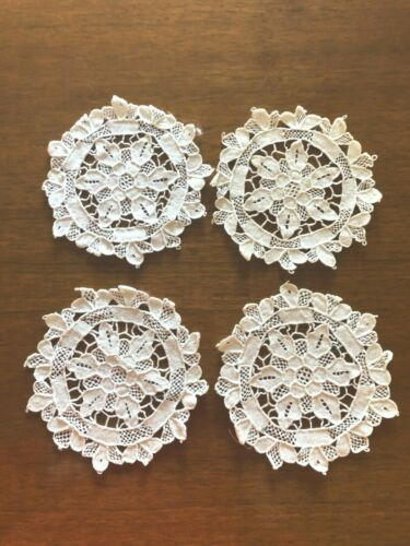 4 Antique White Handmade Needlelace Doilies