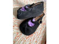 """NEW Old Stock 104mm 100/% Black Suede Doll Shoes Round Toe With Bow 4"""""""