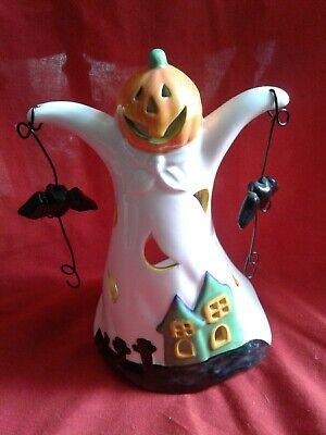 Porcelain Ghost Tea Light Candle Holder Votive/ Bat and Pumpkin Head Halloween.