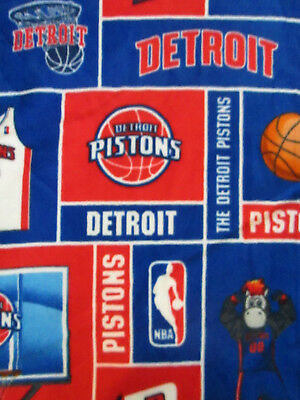 Detriot Pistons NBA Basketball Licensed Fleece Fabric 27 Inch Cut