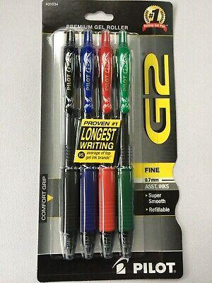 4 Pack Pilot G2 Assorted Inks Fine 0.7mm Premium Gel Roller Pens New Free Ship